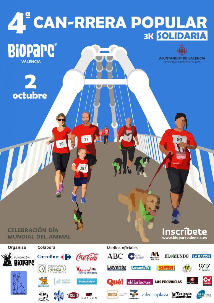 Cartel oficial 4ª Can-rrera popular de Valencia - carrera solidaria organizada por BIOPARC y ARCADYS
