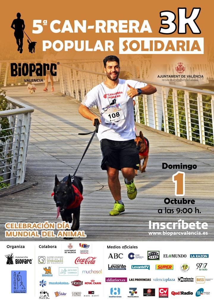 Cartel 5ª CAN-RRERA solidaria de Valencia - domingo 1 de octubre 2017
