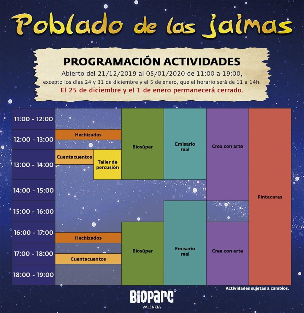 Programación actividades Poblado de las Jaimas 2019 BIOPARC Valencia