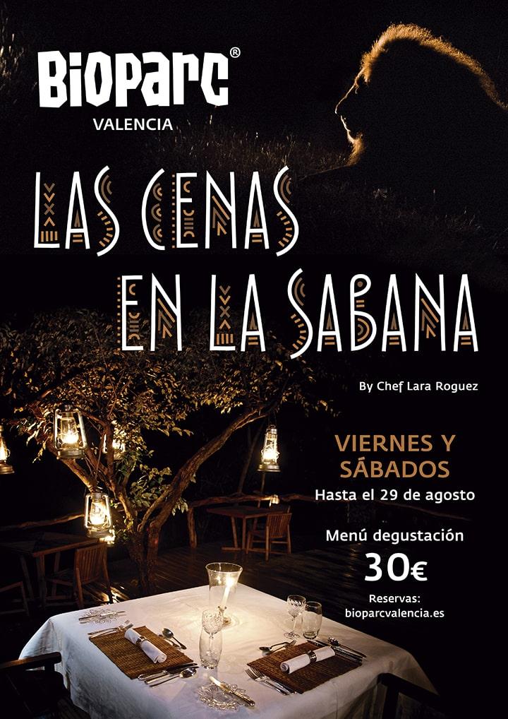 Cartel Las Cenas en la Sabana de BIOPARC Valencia 2020
